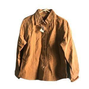 AMI Tan Suede Leather Jacket Shirt Women's